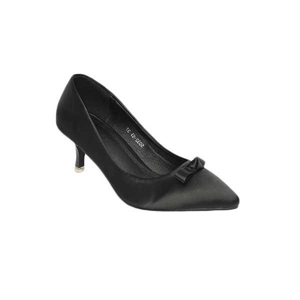 Giày cao gót đen mũi nhọn đính nơ SG5032-83BA