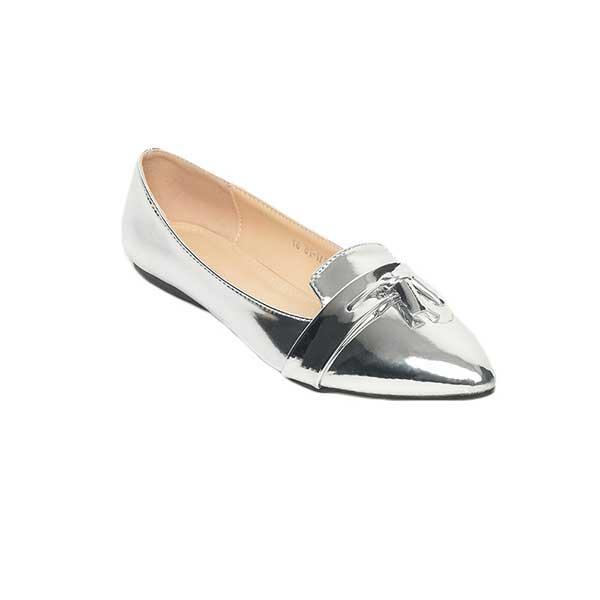 Giày búp bê mũi nhọn nhọn màu ánh bạc SG217-75SI
