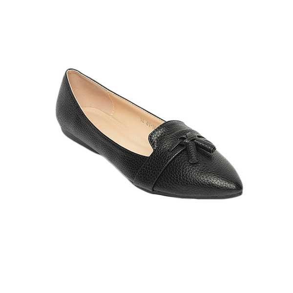 Giày bệt nữ mũi nhọn màu đen SG217-75BA