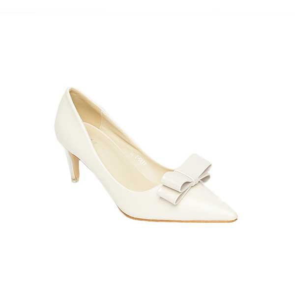 Giày cao gót trắng đính nơ SG1199-1WH