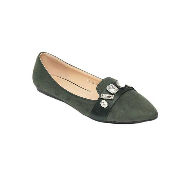 Giày búp bê nhung mũi nhọn đính đá SG217-40GR