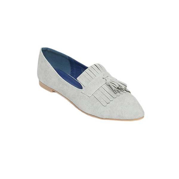 Giày búp bê nhung mũi nhọn xám xanh SG211-8BL