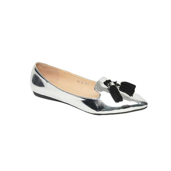 Giày bệt búp bê mũi nhọn đính quả chuông SG217-42SI