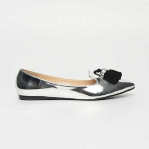 Giày búp bê đế bệt mũi nhọn đính quả chuông SG217-42SI