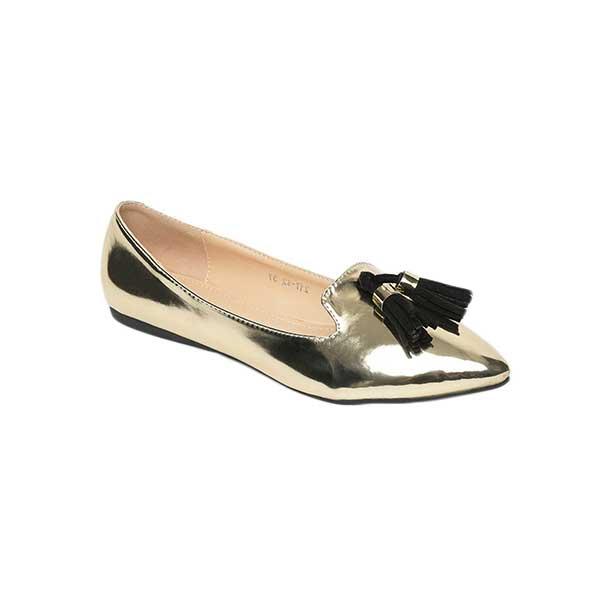 Giày bệt nữ mũi nhọn đính quả chuông SG217-42GO