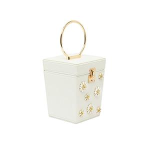 Túi cầm tay nữ hình hộp vuông đính hoa đá STSY6808WH
