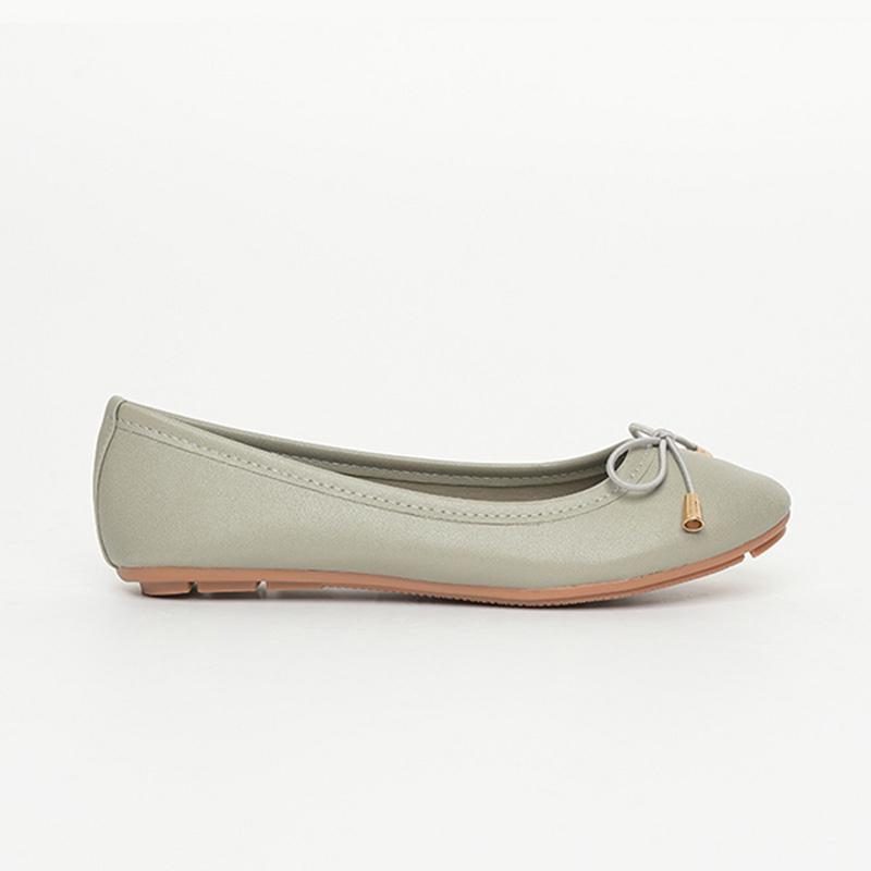 Giày bệt nữ da trơn màu nâu xám SGA811-36EGY
