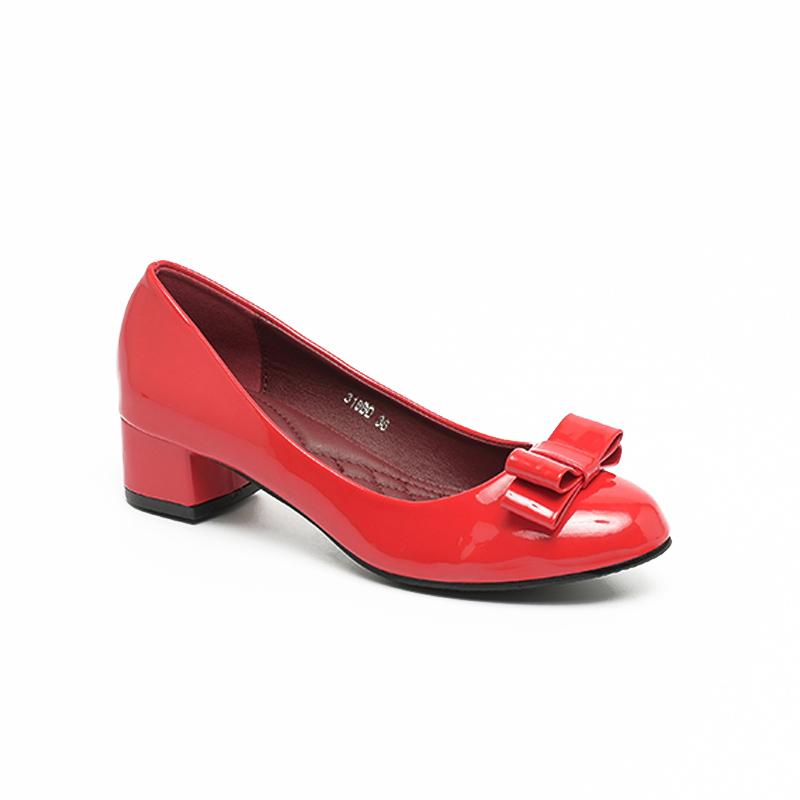 Giày búp bê cao gót đế vuông da bóng Hàn Quốc SG318BDRE