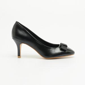 Giày nữ cao gót da trơn có nơ SG314-1BBA