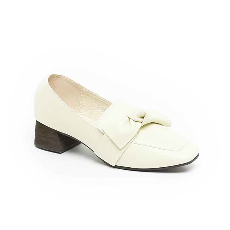 Giày Loafer nữ đế vuông có nơ bản to SGS2018-1WH
