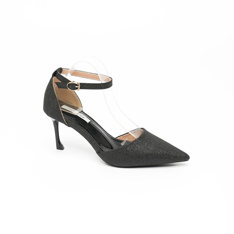 Sandal cao gót màu đen nhũ sang trọng SG963-2BA