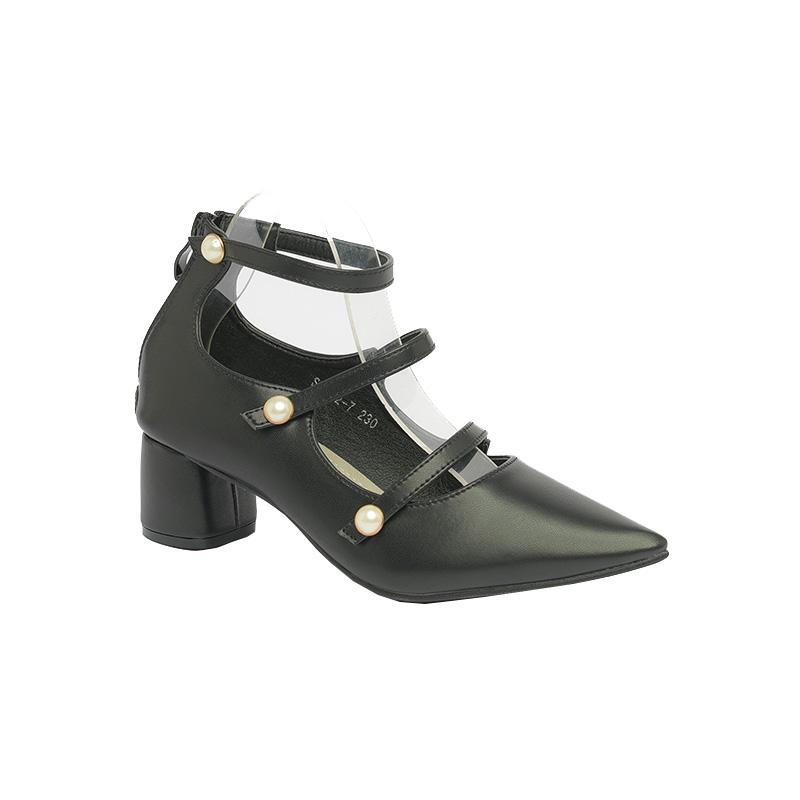 Giày cao gót quai ngọc trai SG1802-7 màu đen