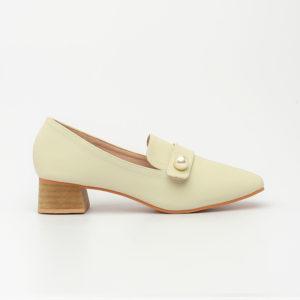 Giày cao gót đế thô Hàn Quốc da trơn màu kem SG2018-15