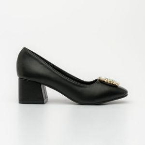 Giày cao gót đính đá sang trọng đế thô SG1610-10 màu đen